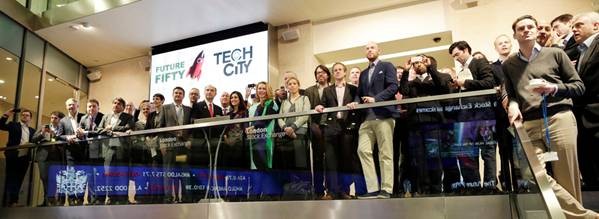Kevin Cornils, CEO of MyOptique, at the Tech City gathering before the opening of the London Stock Exchange