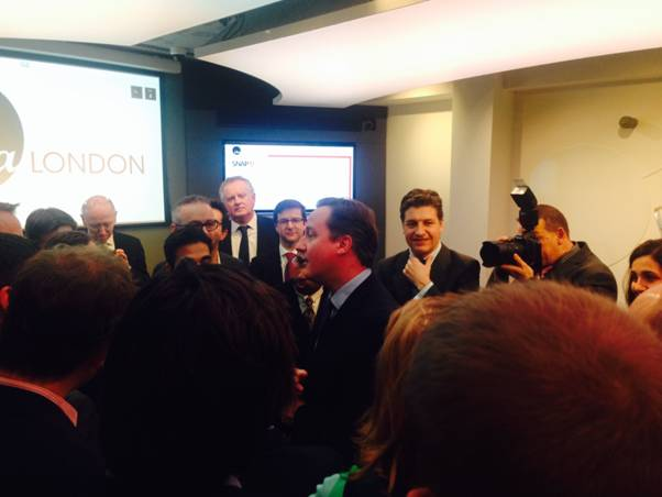 UK PM David Cameron meeting the business leaders from the Future Fifty companies
